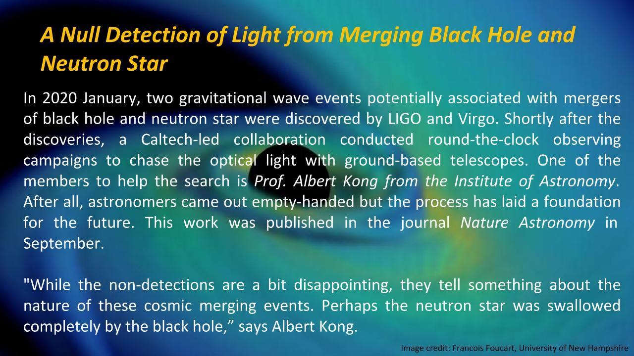[Prof. Albert K. H. Kong] A Null Detection of Light from Merging Black Hole and Neutron Star